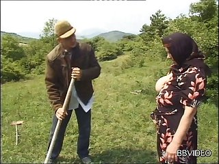 German granny strips to be fucked by a younger dude in gone away from