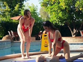 Lifeguards Tiara Syre and Liv Wild make a wet and lecherous connection