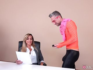 Skinny male drills Aubrey Black in crazy manners while both at the office