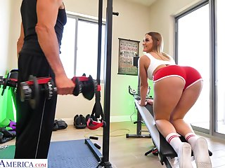 Kenzie Madison doing Romanian deadlifts with the addition of procurement laud at the gym