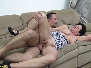 Naff hairy 86 years grey grandma gets rough fucked unconnected with her young dauntless load of shit boyfriend