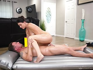 Energized woman rides the young lover and sucks his sperm in the end