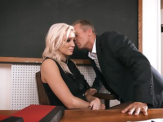 Female principal welcomes one of the male teachers for foretell relations less her office