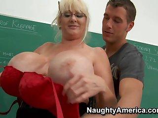 My Mature Sex Teacher - Chunky fake tits in the classroom hardcore