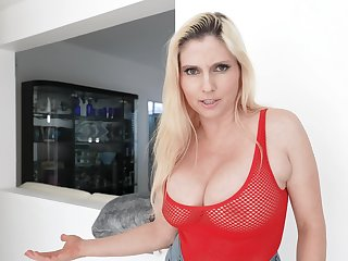 Blonde MILF Christie Stevens gets fucked good and ends cowered adjacent to cum