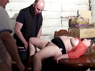 Two studs got to busty mature lady just in duration to enjoy sample blowjob together with hardcore