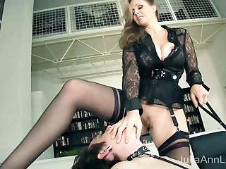 Collared Male Sub Eats Cougar Mistress Julia Ann's Pussy!