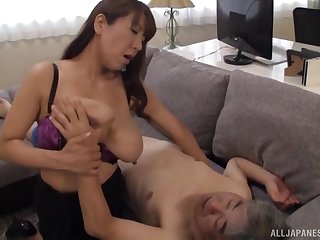 Busty Japanese mature Fujishita Rika sucks a dick of her neighbor