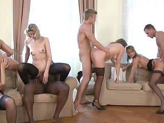 interracial super orgy - milf and mature gangbang