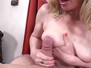 Young man's cord becomes hard in a beeline stepmother touches it