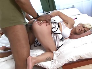 Chest treat for the curvy grown-up in home interracial